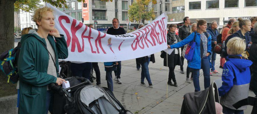 Protest mod nedskæringer i Aarhus 13.9.2018