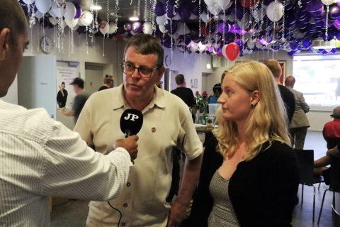 Søren Egge Rasmussen og Anne Hegelund ved valgfest hos 3F