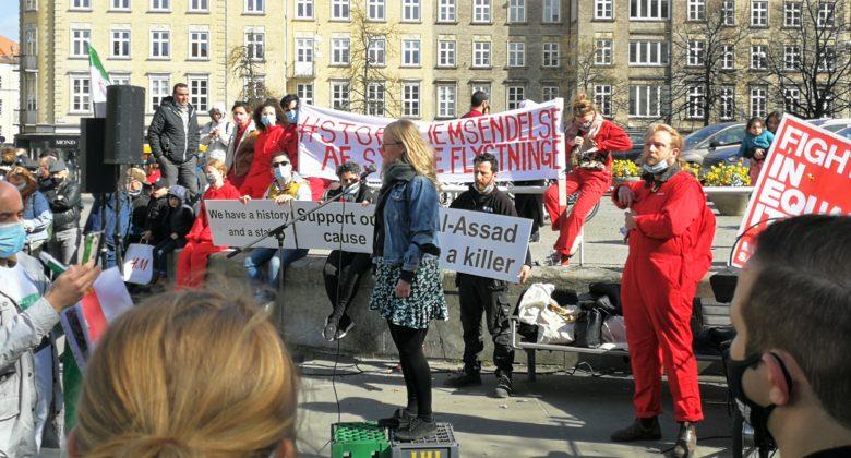 Folketingskandidat for Enhedslisten Anne Hegelund taler ved en demonstration for syriske flygtninge i Aarhus d. 21.4.2021